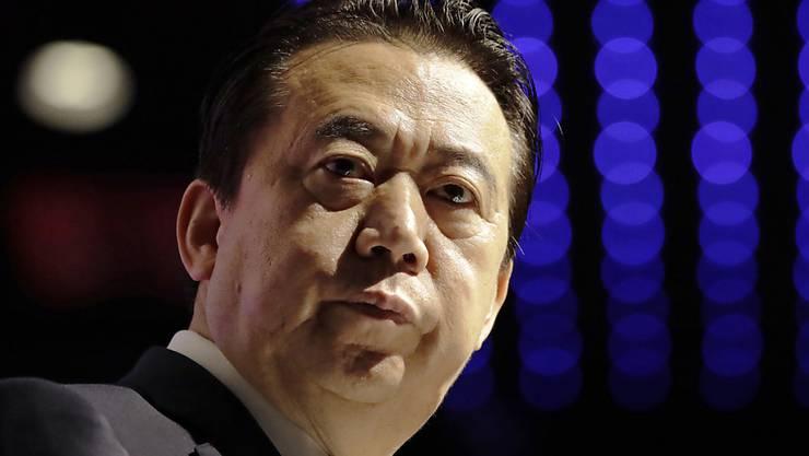 Der ehemalige Interpol-Chef Meng Hongwei beim Interpol Weltkongress 2017 in Singapur.