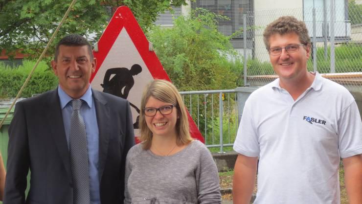 v.l.: Marco Garani (Koordinator Lehrlingswesen Gewerbeverein Suhr), Rahel Zimmermann (Kerngruppe Schule Suhr), René Fasler (Koordinator Lehrlingswesen Gewerbeverein Gränichen)