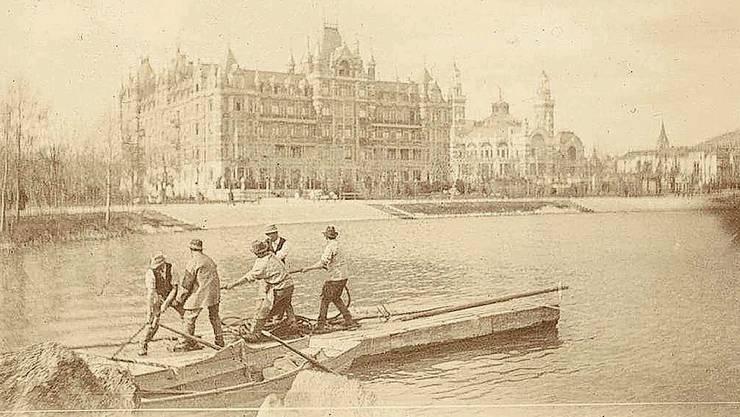 Arbeiter am Zürichsee, fotografiert von Robert Breitinger 1896.