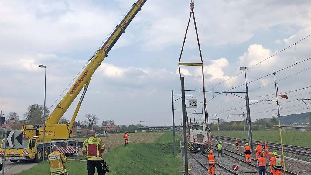 Schienentraktor in Frauenfeld entgleist