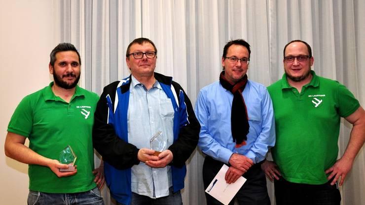 v.l.n.r Rene Chopard, Rolf Müller (SG-V), Sascha Wicki, Walter Schumacher