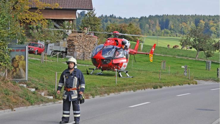 Auch ein Hubschrauber der Rega wurde aufgeboten