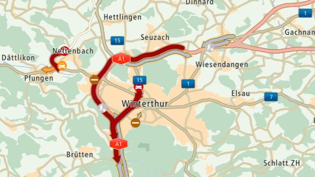 Der Freitagmorgen beginnt mit einem langen Stau vor Winterthur.