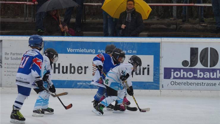 Eishockeyaner sind wetterfest: Wohlens Bambini (blaues Dress) gegen den späteren Turniersieger Seewen. Ruedi Burkart
