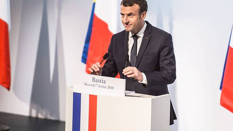 Frankreichs Präsident Emmanuel Macron bei seinem ersten offiziellen Besuch auf Korsika.