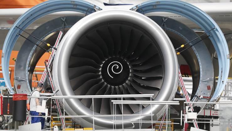 Eine Turbine an der A380-Montagelinie im Airbus-Werk in Blagnac in Frankreich.
