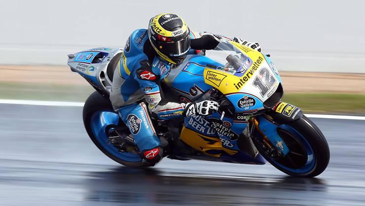 MotoGP-Fahrer Tom Lüthi auf nasser Strecke