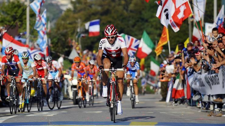 An der Strassen WM 2009 in Mendrisio reichte es Fabian Cancellara nicht für den Sieg.