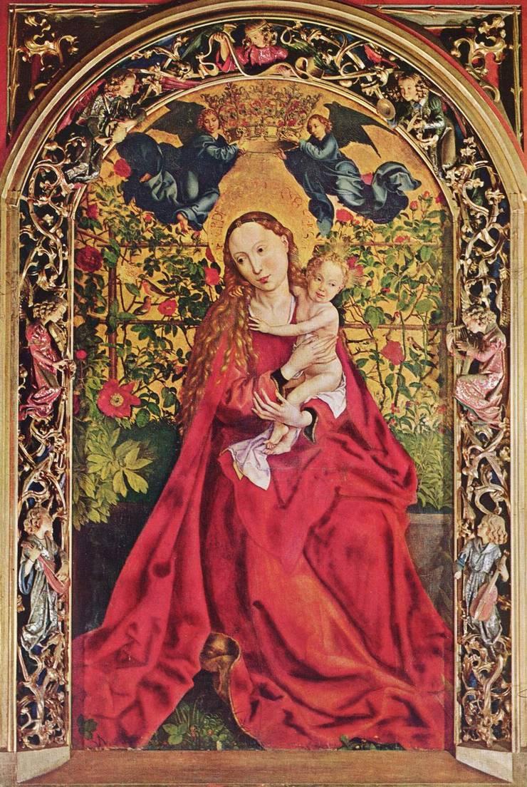 Maria, die reine Dulderin. Hier als «Maria im Rosenhag», 1473 dargestellt von Martin Schongauer.