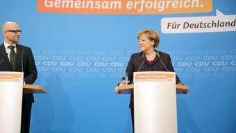 Kanzlerin Merkel mit designiertem CDU-Generalsekretär Peter Tauber