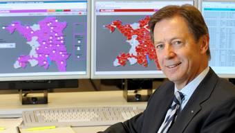 VR-Präsident Ernst Werthmüller in der Stromleitzentrale der AEW Energie AG in Aarau.