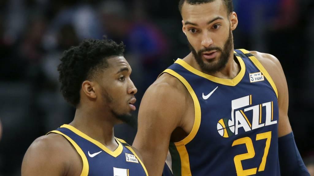 Rudy Gobert und Donovan Mitchell (links) sind zwei NBA-Spieler von Utah Jazz, die das Coronavirus bereits überstanden haben