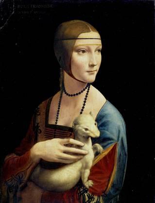 Cecilia Gallerani («Die Dame mit dem Hermelin»). Im Auftrag von Ludovico Sforza 1489/90 entstanden. Öl auf Holz, 55×40,5 cm. Heute im Nationalmuseum Krakau.