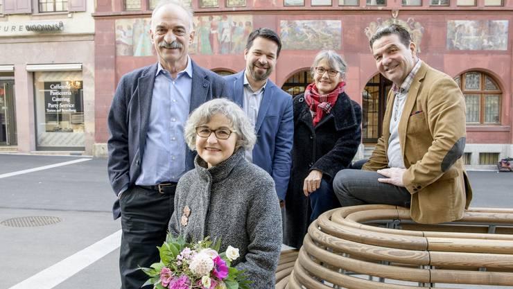 Die bisherigen Stadträte: (v.l.) Franz Kaufmann, Marie-Theres Beeler, Daniel Spinnler, Regula Nebiker und Daniel Muri. (Archivbild)