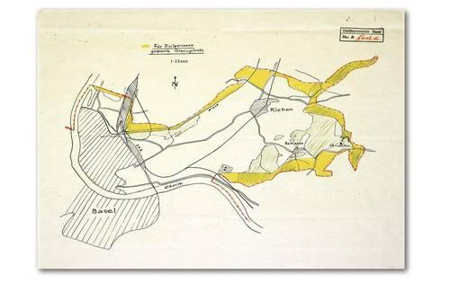 Der Zaun verlief entlang der rot eingezeichneten Grenze. Die gelben Gebiete waren für Zivilpersonen gesperrt.