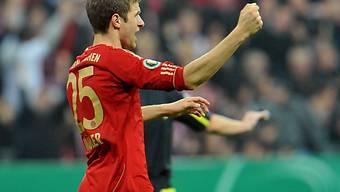 Thomas Müller bejubelt seinen Treffer zum 1:0 für die Bayern