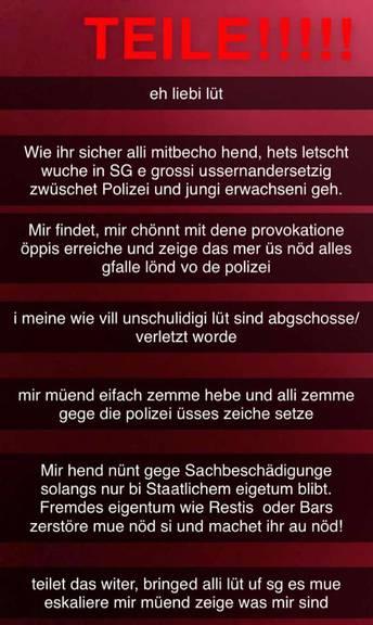 Aufruf zur Gewalt in St.Gallen