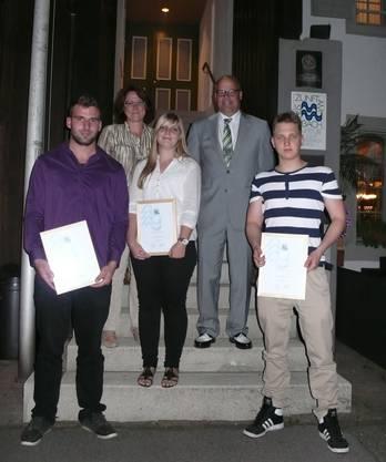 vorne vlnr: Manuel Wilhelm, Angela Rupp, David Steffen hinten: Karin Streit-Heizmann, Tobias Maurer
