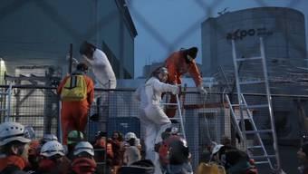 100 Greenpeace-Aktivisten verschaffen sich mit Leitern Zutritt zum AKW-Gelände.