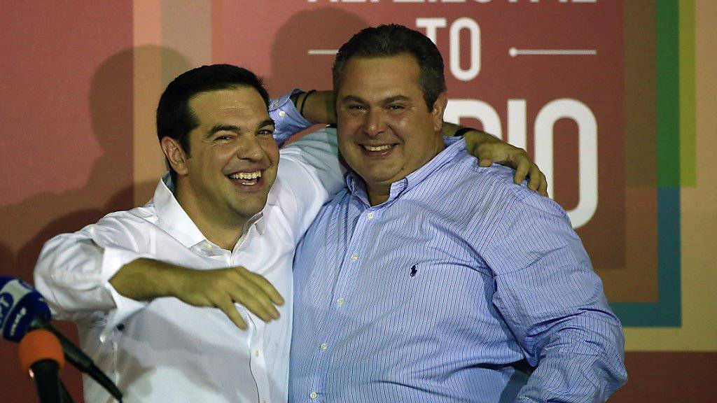Wahlsieger und zukünftiger Regierungschef Alexis Tsipras (links) mit seinem Koalitionspartner von den Rechtspopulisten, Panos Kammenos.