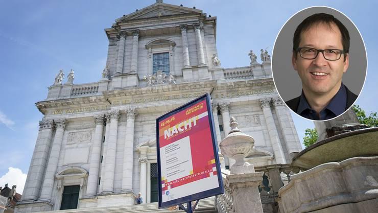 Seit Wochen machen Plakate auf die lange Nacht der Kirchen aufmerksam. Stadtpfarrer Thomas Ruckstuhl macht mit.