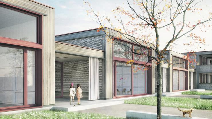 Das im Plan mit «Kiga» bezeichnete längliche Gebäude wird der Kindergarten, das quadratische daneben ist für die Tagesstrukturen vorgesehen.