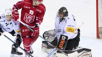 Lausanne mit Dustin Jeffrey setzte sich im Westschweizer Duell gegen Fribourg-Gottéron mit Torhüter Benjamin Conz durch