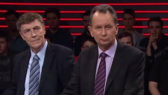 Während eines Streitgesprächs mit FDP-Präsident Philipp Müller verlässt der Rechtsprofessor Dieter Freiburghaus das Arena–Studio.