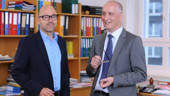 Wolfgang Meier (r., Universität Basel) ist Direktor des NCCR Molecular Systems Engineering, Daniel Müller ist Co-Direktor (l., ETH Zürich).