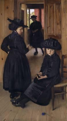 Charles Giron, Walliser Mädchen vor dem Kirchgang, undatiert, Öl auf Leinwand, 159 x 89 cm, Kunstmuseum Basel