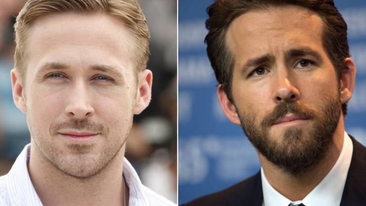 Ähneln sich tatsächlich: Ryan Gosling (l) und Ryan Reynolds. Unterscheiden tun sie sich laut Reynolds punkto Haarfarbe und Vulgarität (Archiv)