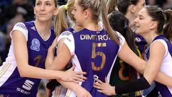 Die Volleyballerinnen von Volero Zürich freuen sich über den Einzug in die Champions-League-Viertelfinals