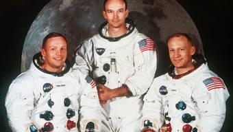"""Auf dem ikonischen Team-Porträt der """"Apollo 11""""-Besatzung ragt Michael Collins (M) hervor. Allerdings nur da. Sonst stehen immer Kommandant Neil Armstrong (l) und Landefährenenpilot Edwin E. Aldrin """"Buzz"""" (r) im Fokus. (Archivbild)"""