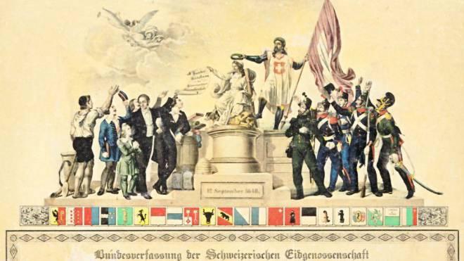 Ein wichtiger Schritt, aber noch nicht die Vollendung der Demokratie: Erinnerungsblatt für die Schweizer Bundesverfassung vom 12. September 1848. Bild: Wikipedia