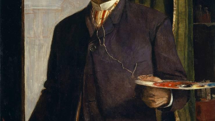Arnold Böcklins «Selbstbildnis im Atelier» von 1893, Tempera (?) auf Leinwand, 120 x 80.8 cm.