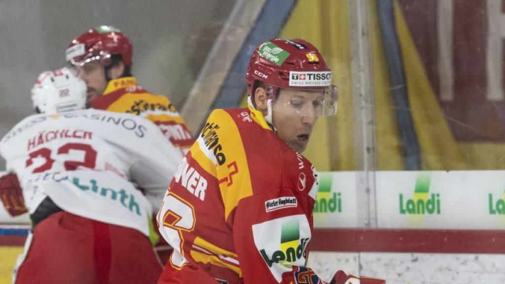 Damien Brunner (vorne) war bei seiner Rückkehr nach langer Verletzungspause und in seinem ersten Meisterschaftsspiel der neuen Saison gleich Matchwinner für Biel