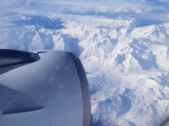 Hoch über den Alpen von Frankreich! Aufnahme 14.01.18
