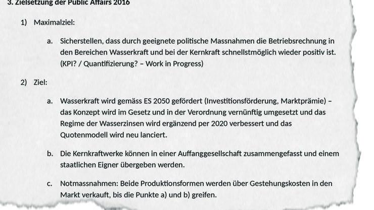 Verfasst hatte das «Public Affairs Konzept 2016» der Lobbyist Dominique Reber von der PR-Agentur «Hirzel.Neef.Schmid.Konsulenten», adressiert war es an ein Geschäftsleitungsmitglied des Stromkonzerns Alpiq.