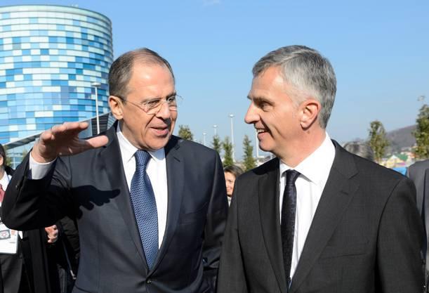 Russlands Aussenminister am 8. Februar mit Burkhalter in Sotschi. KEY