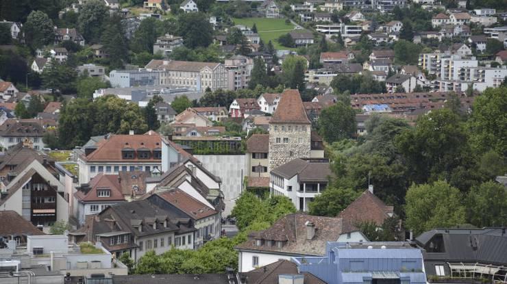Das Schlössli und das Stadtmuseum aus der Vogelperspektive.