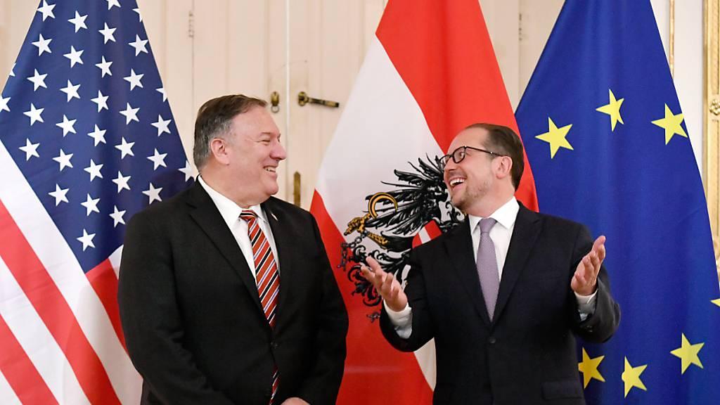 US-Außenminister Mike Pompeo wurde in Wien von seinem österreichischen Amtskollegen Alexander Schallenberg empfangen. Foto: Roland Schlager/APA/dpa