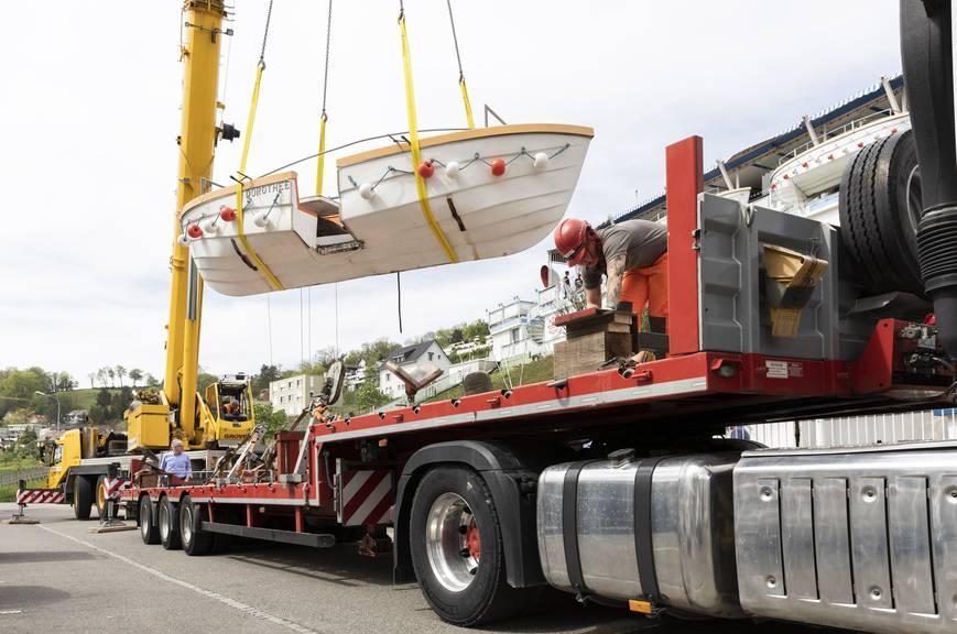 Die drei Boote im Aussenbereich der «Aarfähre» wurden im April verladen.