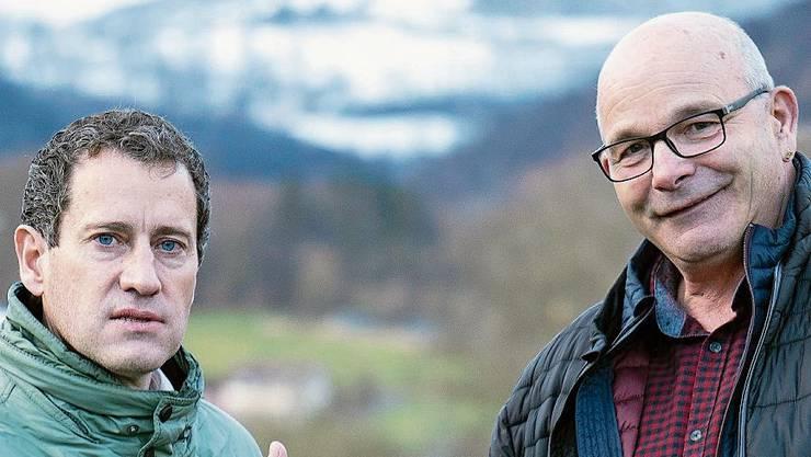 Andy Steinacher (rechts) im Gespräch mit Matthias Betsche über den Aprikosen-Tunnel-Entscheid des Regierungsrates.
