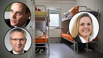 SVP-Grossrätin und Sozialvorsteherin Martina Bircher (rechts) kritisiert die Haltung ihrer Parteikollegen Andreas Glarner (links unten) und Jean-Pierre Galatti.