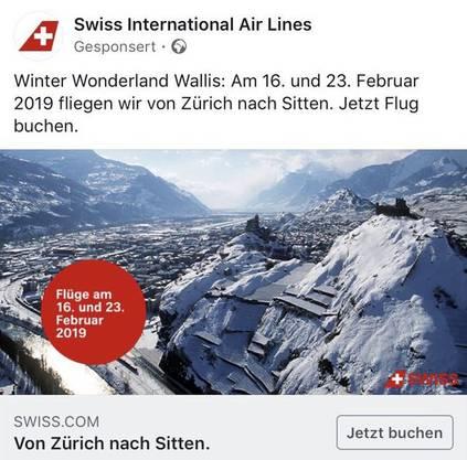 So bewirbt Swiss den Inlandflug.