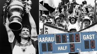 Rolf Osterwalder und die FCA-Fans jubeln nach dem Cupsieg 1985 gegen Xamax.