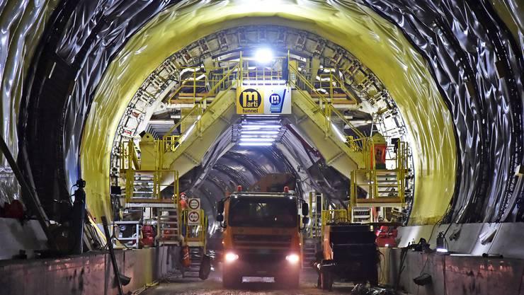 Man ist im Fahrplan: Die Bauarbeiten am Eppenberg-Tunnel (Besichtigung vom 18. Juli 2018)