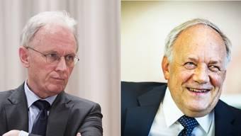 Gewerbedirektor Hans-Ulrich Bigler (links) erhebt Anschuldigungen gegen Bildungsminister Schneider-Ammann.