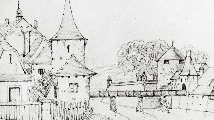 Solothurn um 1820: Noch stehen der Hürligturm (vorne), das Wassertor und die Bastion St.Georg mit dem Haffnersturm.