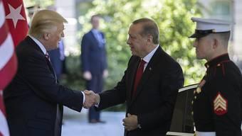 US-Präsident Donald Trump (links) empfängt seinen türkischen Amtskollegen Recep Tayyip Erdogan (Mitte) vor dem Weissen Haus in Washington.